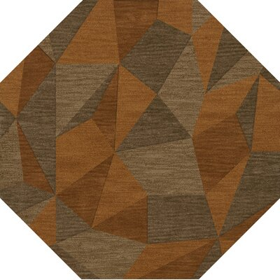 Bella Machine Woven Wool Orange/Brown  Area Rug Rug Size: Octagon 4