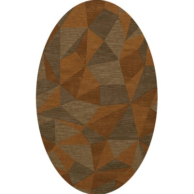 Bella Machine Woven Wool Orange/Brown  Area Rug Rug Size: Oval 12 x 18