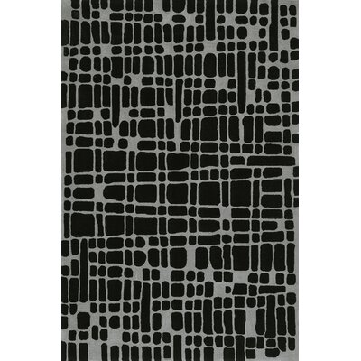 Journey Hand-Tufted Black Area Rug Rug Size: 36 x 56