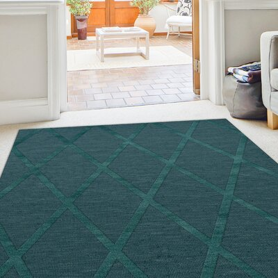 Dover Tufted Wool Teal Area Rug Rug Size: Round 6