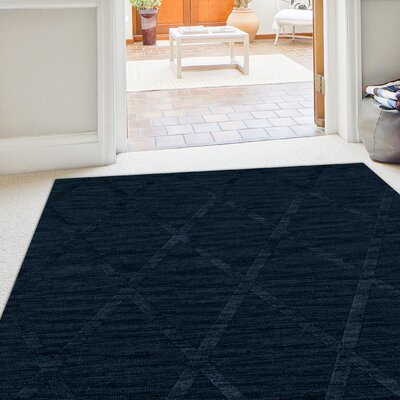 Dover Tufted Wool Navy Area Rug Rug Size: Round 8