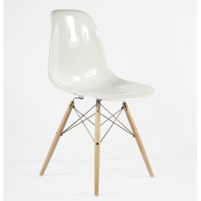 The Mid-Century Eiffel Solid Wood Dining Chair Upholstery: White