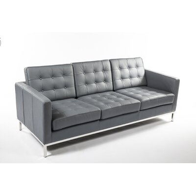 Draper Leather Sofa Upholstery: Grey