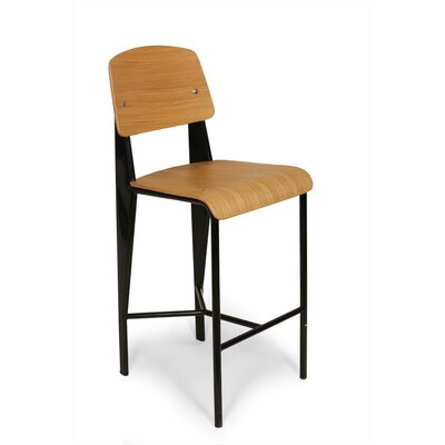 26.5 Bar Stool Finish: Black Frame/Oak Seat