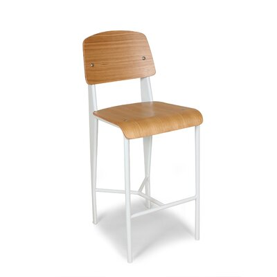 26.5 Bar Stool Finish: White Frame/Oak Seat