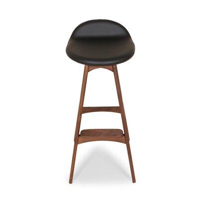 The Erik Buck 29.5 inch Bar Stool Upholstery: Black / Walnut