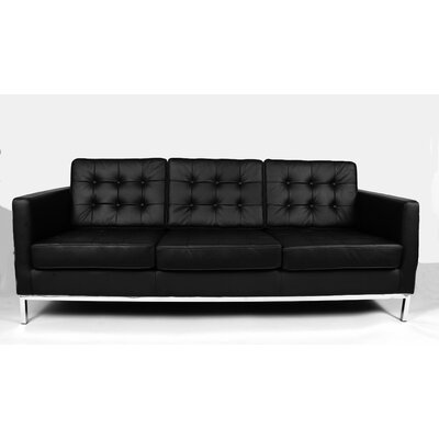 Draper Leather Sofa Upholstery: Black