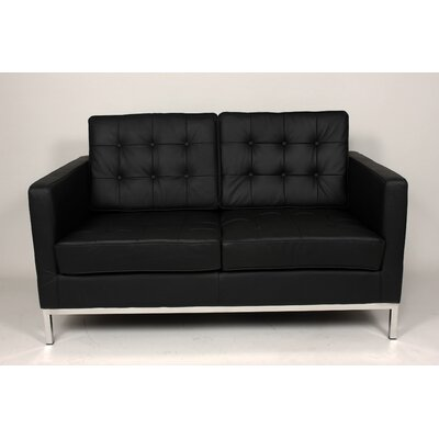 Draper Leather Loveseat Upholstery: Black