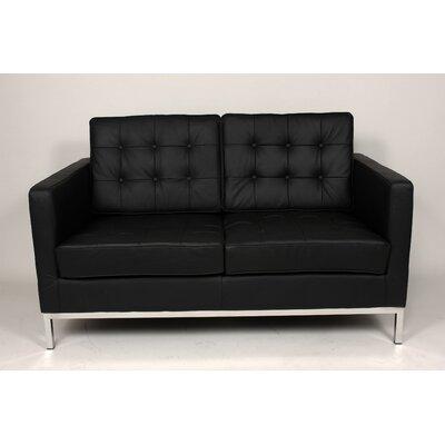Draper Leather Loveseat Upholstery: Black