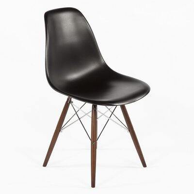 Side Chair Finish: Walnut, Color: Black