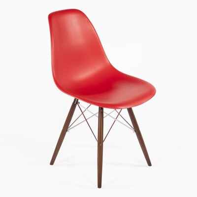 Side Chair Color: Red, Finish: Walnut