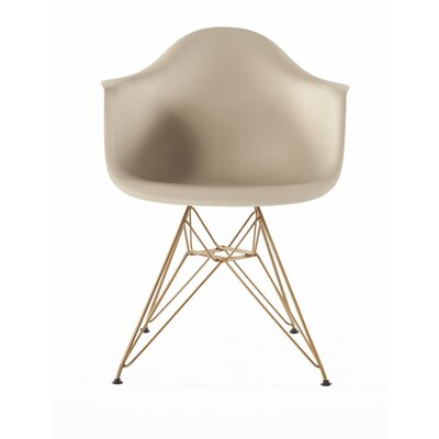 The Mid Century Metal Eiffel Arm Chair Upholstery: Beige / Gold