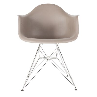 The Mid Century Metal Eiffel Arm Chair Upholstery: Grey