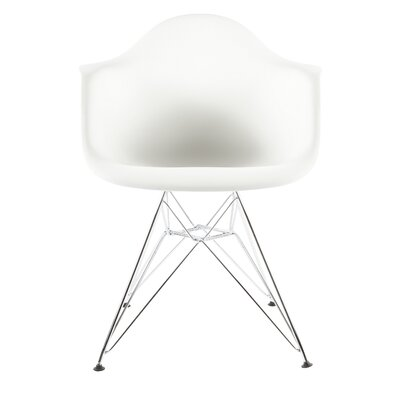 The Mid Century Metal Eiffel Arm Chair Upholstery: White