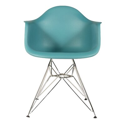 The Mid Century Metal Eiffel Arm Chair Upholstery: Navy Green