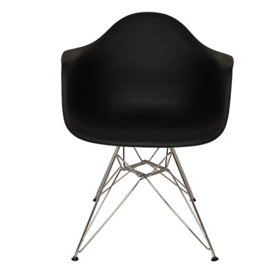 The Mid Century Metal Eiffel Arm Chair Upholstery: Black