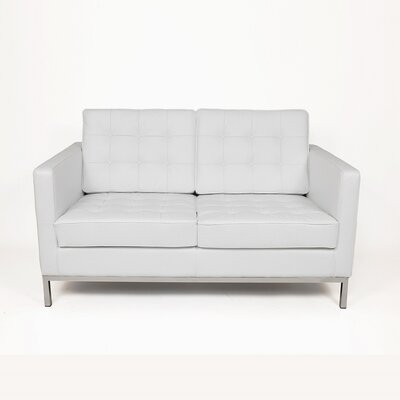 Draper Leather Loveseat Upholstery: White