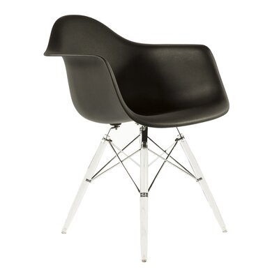 The Mid Century Eiffel Side Chair Upholstery: Black