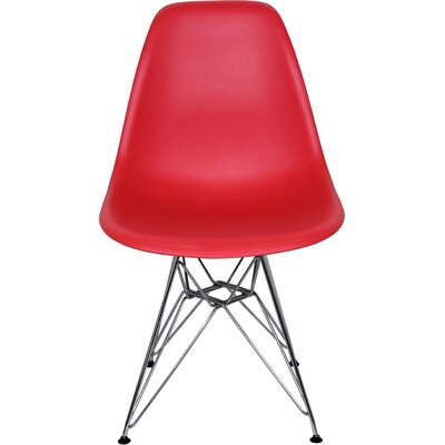 The Mid Century Eiffel Side Chair Upholstery: Red