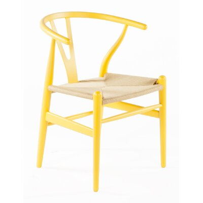 Wishbone Solid Wood Dining Chair Finish: Yellow