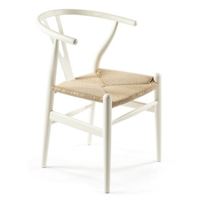 Wishbone Solid Wood Dining Chair Finish: White