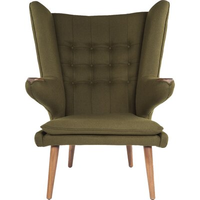 The Olsen Wingback Chair and Ottoman Upholstery: Green