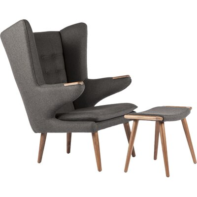 The Olsen Wingback Chair and Ottoman Upholstery: Dark Grey