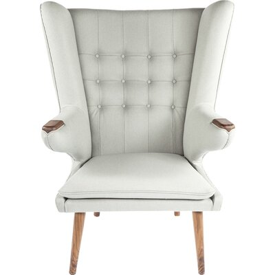 The Olsen Wingback Chair and Ottoman Upholstery: Light Grey