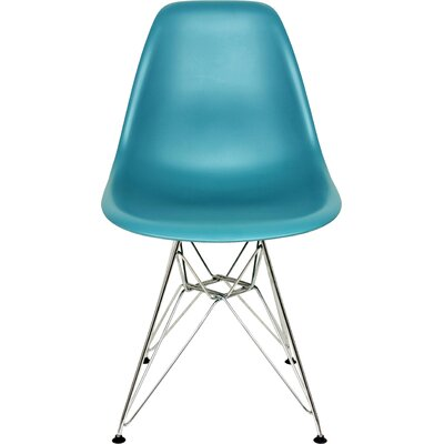 The Mid Century Eiffel Side Chair Upholstery: Navy Green