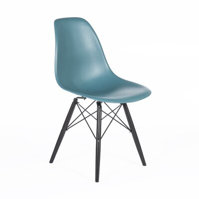 Side Chair Finish: Black, Color: Navy Green