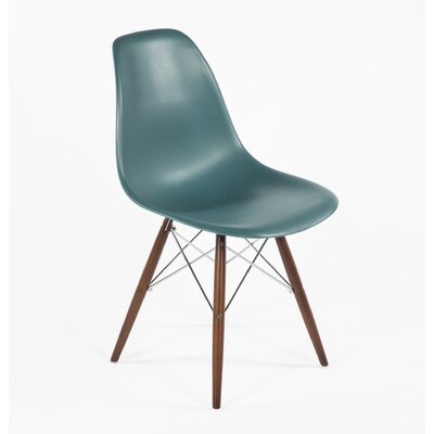 Side Chair Color: Navy Green, Finish: Walnut