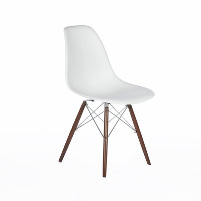 Side Chair Color: White, Finish: Walnut