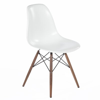 The Mid-Century Eiffel Solid Wood Dining Chair Upholstery: White / Black