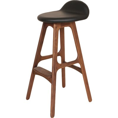 The Erik Buck 29.5 Bar Stool Upholstery: Black / Walnut