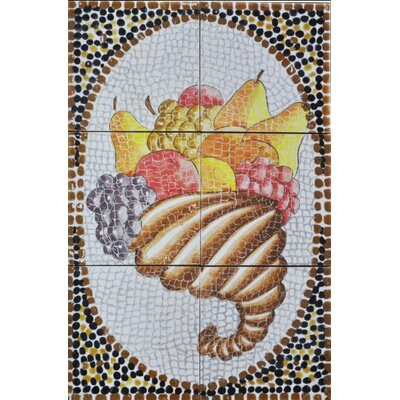 18 x 12 9 Piece Decorative Mosaic Lady Fruit Basket Tiles Set