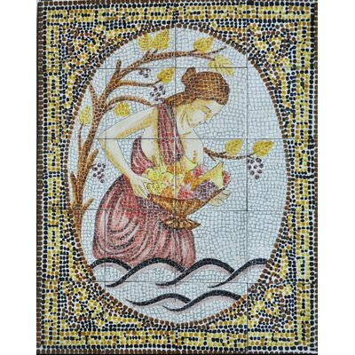 30 x 24 20 Piece Mosaic Lady and Fruit�Basket Tiles Set