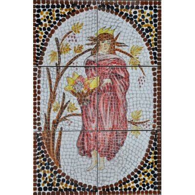 18 x 12 9 Piece Decorative Mosaic Arabic Woman Tiles Set