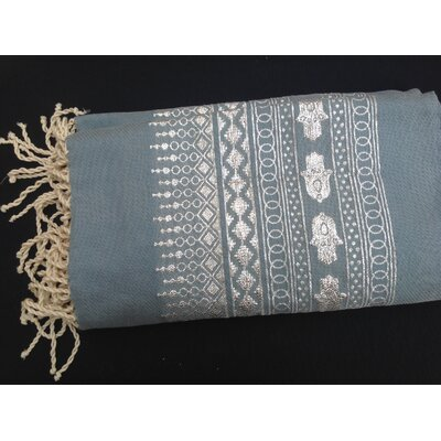 Khamsa Tunisian 100% Cotton Fouta Beach Towel Color: Gray