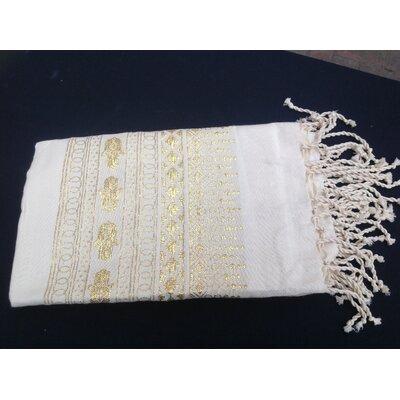 Khamsa Tunisian 100% Cotton Fouta Beach Towel Color: Off White