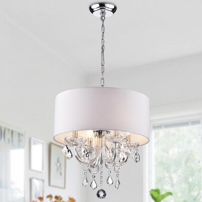 Asteria 4-Light Drum Chandelier Shade Color: White