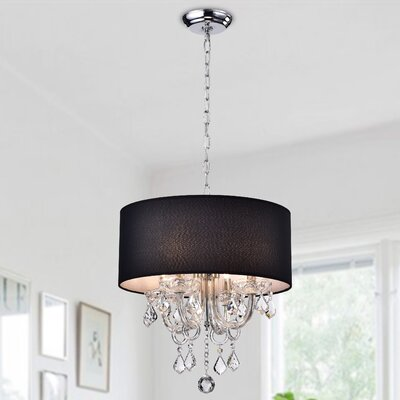 Asteria 4-Light Drum Chandelier Shade Color: Black