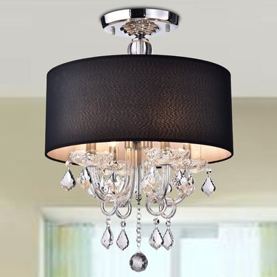 Averill 4-Light Semi-Flush Mount Shade Color: Black