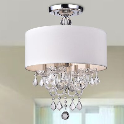 Astraeus 4-Light Semi-Flush Mount Shade Color: White