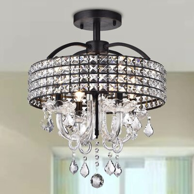 Lupe 4-Light Semi Flush Mount Finish: Black