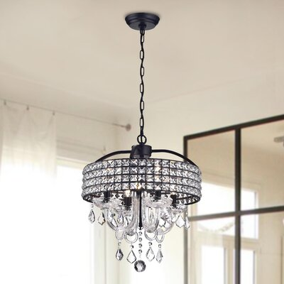 Lupe 4-Light Crystal Chandelier Finish: Black and Brown