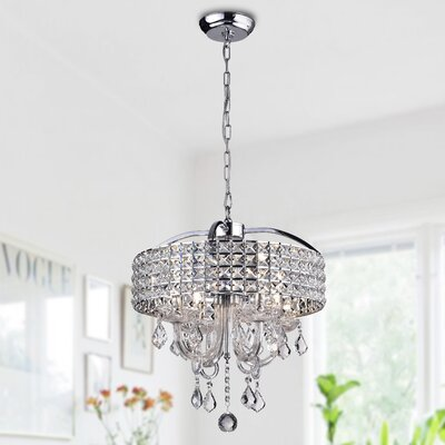 Barkell 4-Light Crystal Chandelier Finish: Chrome