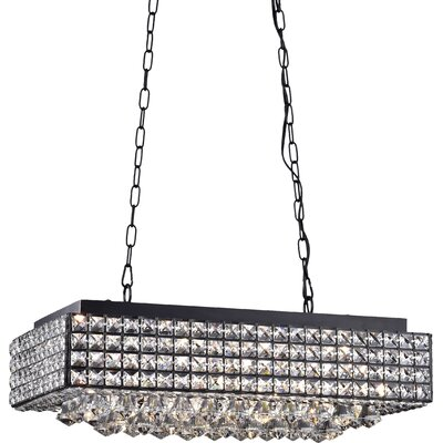 Dhairya 8-Light Kitchen Island Pendant Finish: Black