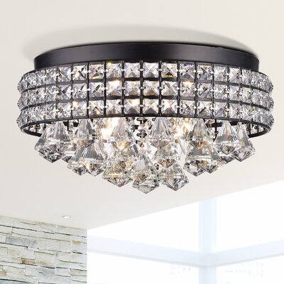Mossley 4-Light Flush Mount Fixture Finish: Brownish Black