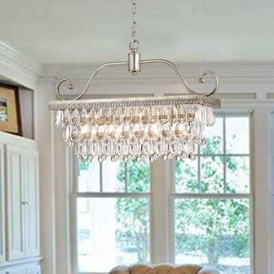 Gerhart 4-Light Crystal Chandelier Finish: Antique Silver