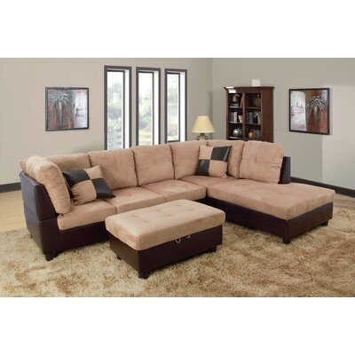 Russ Sectional with Ottoman Upholstery: Light Brown, Orientation: Right Hand Facing